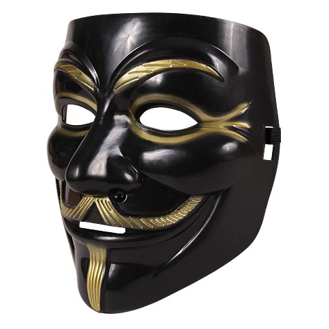Partymaske - Anonymous - schwarz/gold