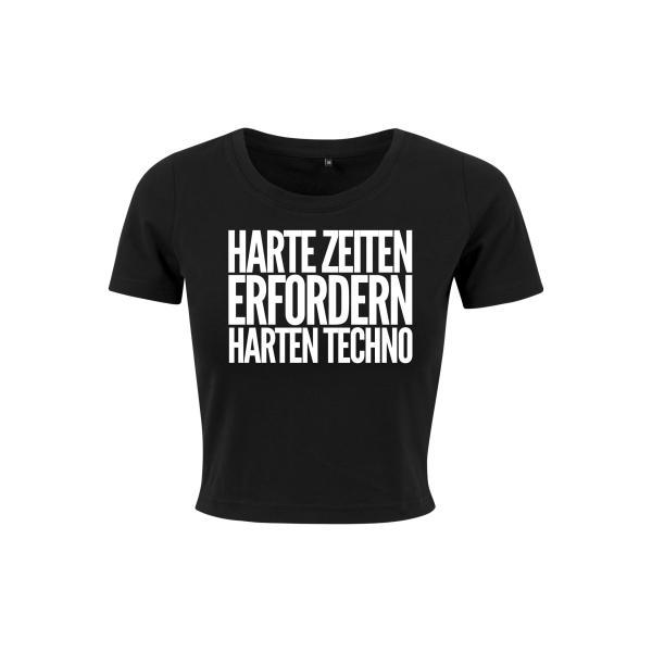 Kein Bock Auf Fratzen - Crop Top - Logo - Harte Zeiten erfordern Harten Techno