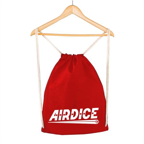 Airdice - Turnbeutel Rot - Schriftzug